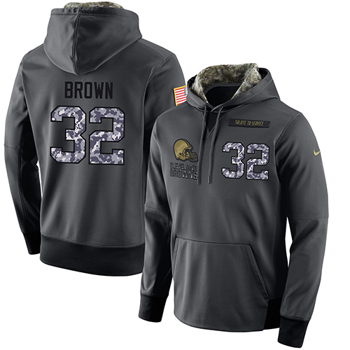 NFL Men's Nike Cleveland Browns #32 Jim Brown Stitched Black Anthracite Salute to Service Player Performance Hoodie